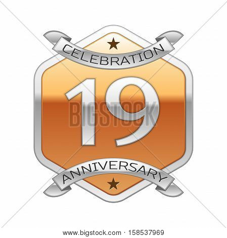 Nineteen years anniversary celebration silver logo with silver ribbon and golden hexagonal ornament on white background.