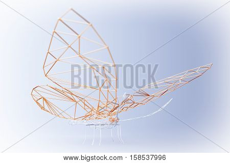 Abstract Wired Low Poly Butterfly on a blue background. 3d Rendering