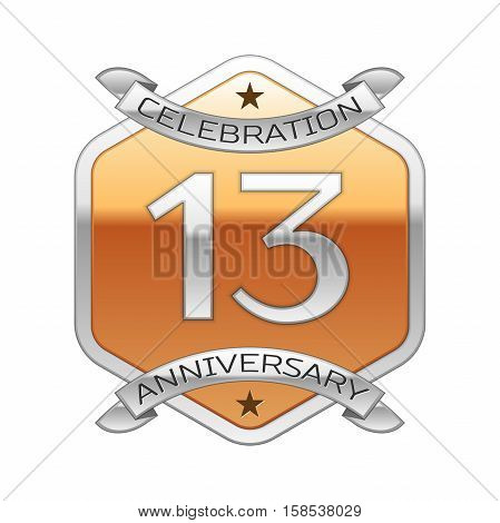 Thirteen years anniversary celebration silver logo with silver ribbon and golden hexagonal ornament on white background.