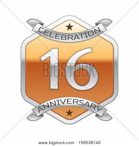 Sixteen years anniversary celebration silver logo with silver ribbon and golden hexagonal ornament on white background.