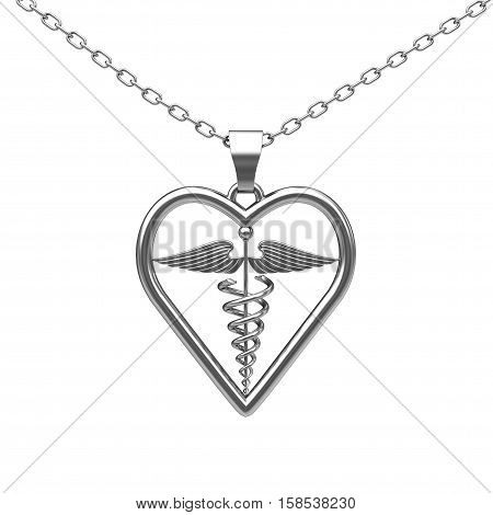Silver Medical Caduceus Symbol Medallion on a white background. 3d Rendering