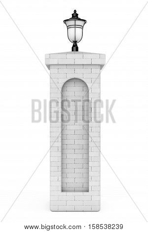 Brick Column with Street Lamp on a white background. 3d Rendering