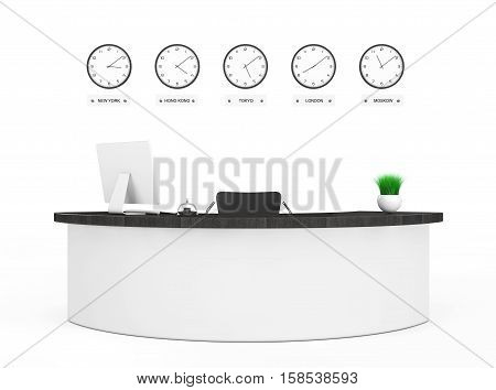 Office Lobby with a Reception Desk on a white background. 3d Rendering