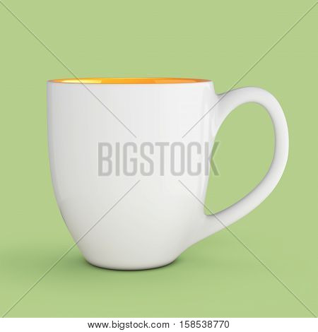 White Mug Empty Blank for Coffee or Tea on a green background. 3d Rendering