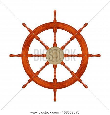 Vintage Wooden Ship Steering Wheel on a white background. 3d Rendering