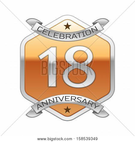 Eighteen years anniversary celebration silver logo with silver ribbon and golden hexagonal ornament on white background.