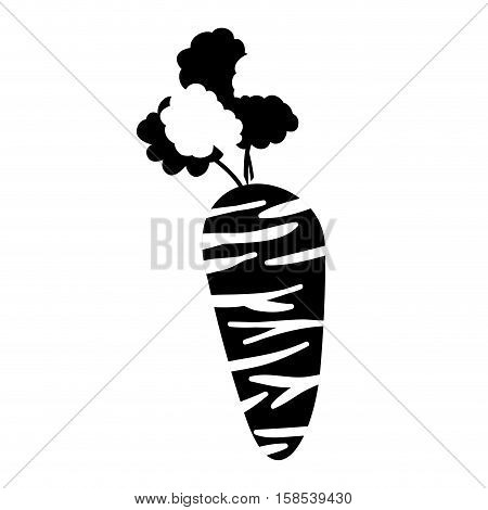 silhouette monochrome with carrot vegetable vector illustration