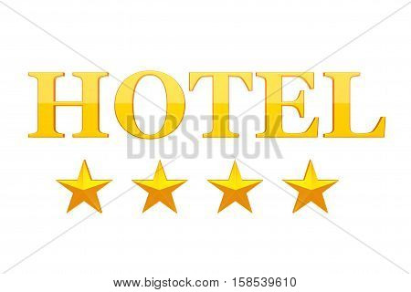 Four Golden Stars Hotel Sign on a white background. 3d Rendering