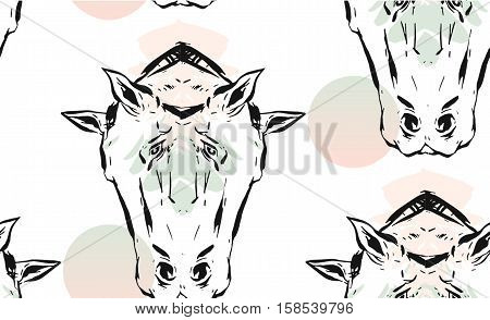 Hand drawn vector lined abstract ink graphic horses mirror heads seamless pattern isolated on white background.Minimalistic style.Unusual pattern.Wrapping papper, Fashion print.Trendy Decoration.