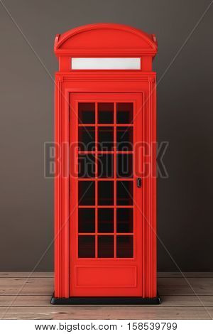 Classic British Red Phone Booth on a wooden floor. 3d Rendering