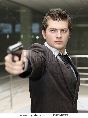 Business Man With Gun