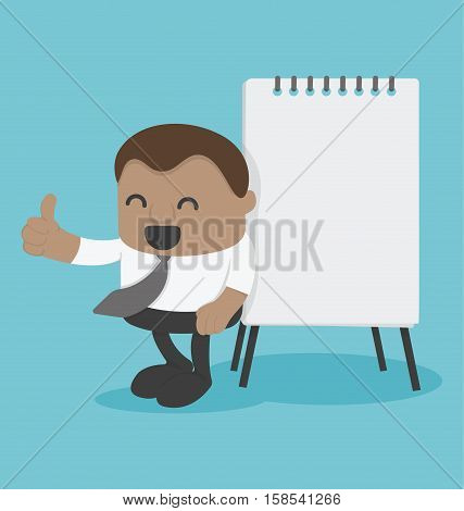 Concept Young African businessman with flip chart