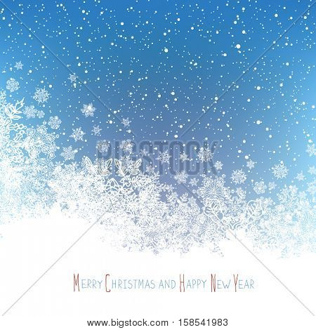 Christmas Postcard. New Year Greeting. Isolated downside area for greeting. Blue winter snowfall background. Vector illustration.