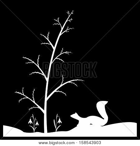 Vector illustration Early spring in the forest.