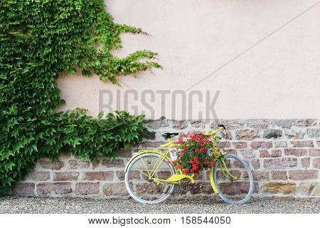 Yellow bike with flowers in Beaujolais, France
