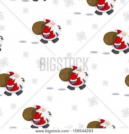 Cartoon Santa Claus character Christmas tile wallpaper pattern, vector illustration