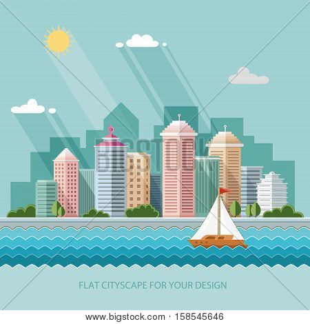 landscape - summer cityscape illustration . city design a metropolis street and trees background. Flat style vector illustration.
