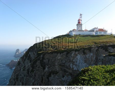 Lighthouse and beauty natural scenery of Cabo da Roca in October, Portugal