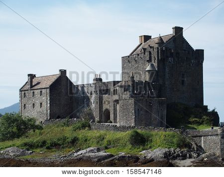 Medieval eilean donan castle in Scottish Highlands in August, Scotland, UK