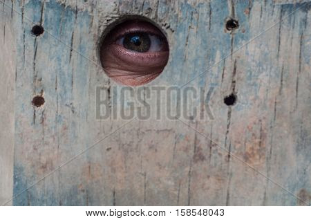 Peeper eye in a hole of a wooden fence