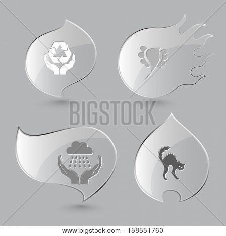 4 images: protection nature, bird, weather in hands, cat. Nature set. Glass buttons on gray background. Fire theme. Vector icons.