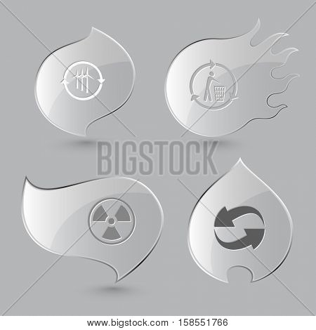 4 images: wind turbine, recycling bin, radiation symbol. Ecology set. Glass buttons on gray background. Fire theme. Vector icons.