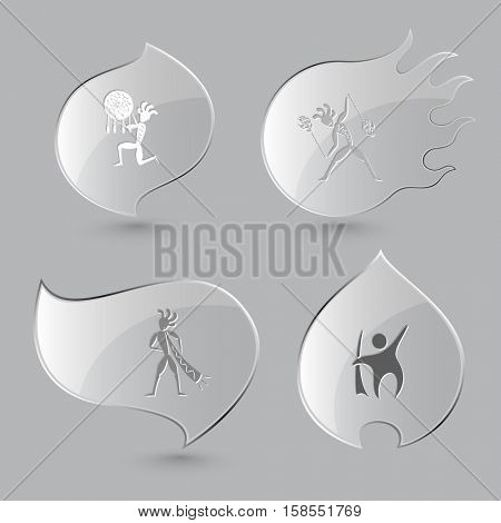 4 images: abstract ethnic little man as shaman, with fire poi, with trumpet. Ethnic set. Glass buttons on gray background. Fire theme. Vector icons.