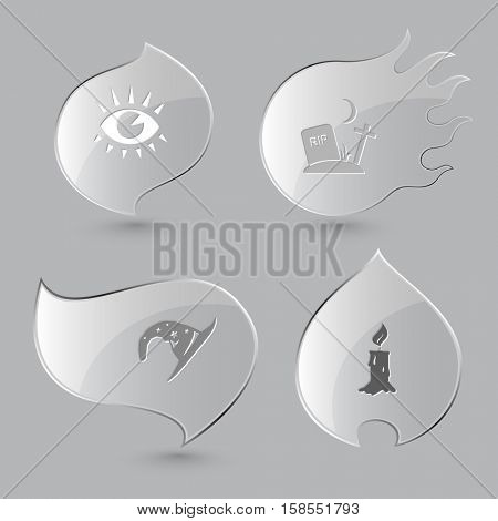 4 images: eye, rip, astrologer's hat, candle. Mystic signs set. Glass buttons on gray background. Fire theme. Vector icons.