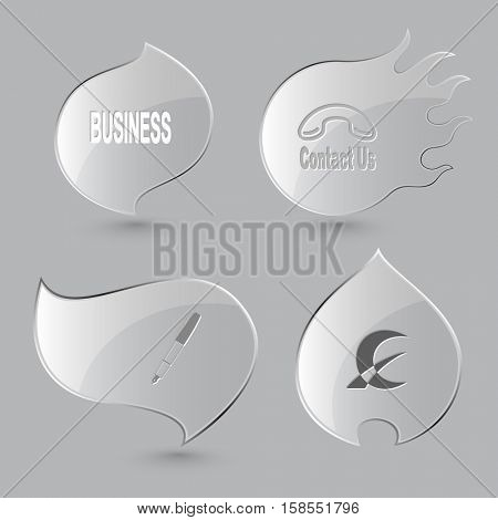 4 images: business, contact us, ink pen, monetary sign. Business set. Glass buttons on gray background. Fire theme. Vector icons.