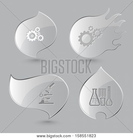 4 images: gears, lab microscope, chemical test tubes. Tehnology set. Glass buttons on gray background. Fire theme. Vector icons.