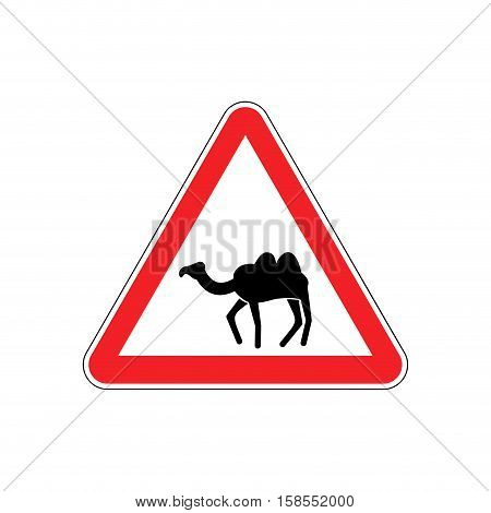 Camel Warning Sign Red. Goof Hazard Attention Symbol. Danger Road Sign Triangle Desert Animal