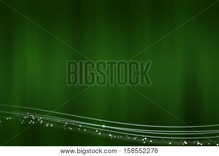 Abstract green background with the light lines at the bottom - illustration