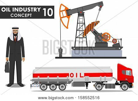 Detailed illustration of gasoline truck oil pump and arab man in flat style on white background.