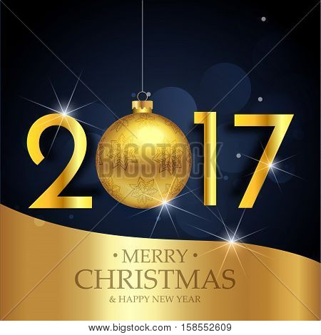Vector Illustration Of Happy New Year 2017 Gold And Dark Blue Colors Place For Text