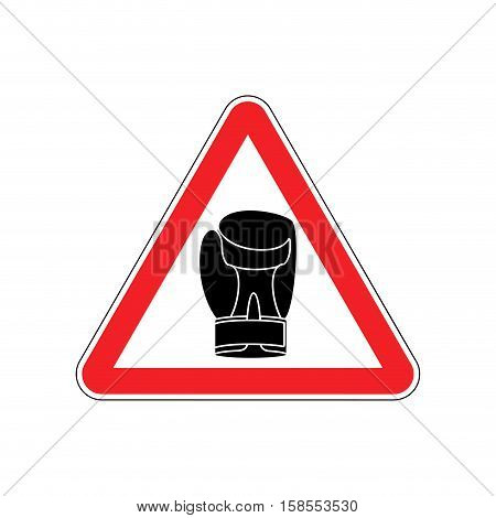 Warning Sign Boxung. Symbol Hazard Attention Of Dangerous Boxer. Danger Road Sign Red Triangle Sport