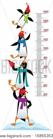 Meter wall or height meter of funny penguins in beanie or cap with pompom or bobble, in scarves, on the ice rock. Children vector illustration with a scale to measure growth. Height chart