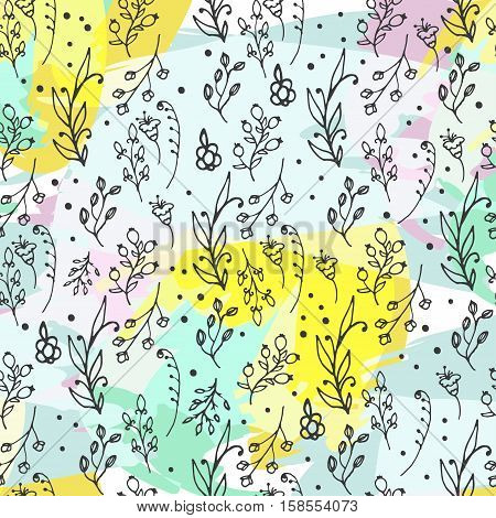 Floral seamless pattern. Herbs and wild flowers print. Collorful splashes hand sketched floral collection. Lovely flowers and leaves branches vector illustration.