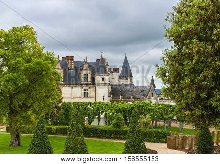 Amboise, France - May 2016: Park view on the castle