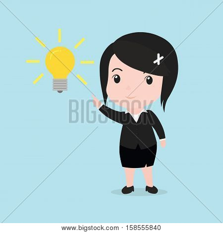 Business woman get something idea, young cartoon.