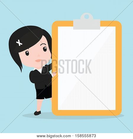 Business Woman Pointing To Screen Of A Paper
