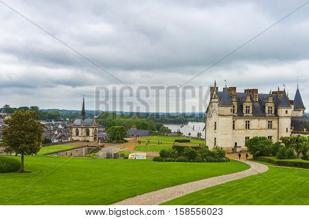 Amboise, France - May 2016: Park view on Amboise castle