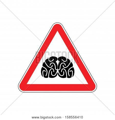 Brains Warning Sign Red. Think Hazard Attention Symbol. Danger Road Sign Triangle Brain
