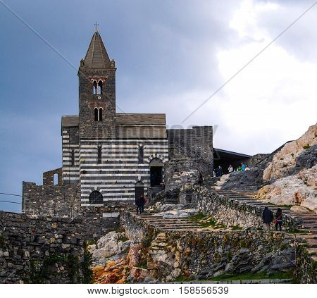 The Church of St. Peter is a Roman Catholic church in Lazzaro Spallanzani, Portovenere, Italy, in the Gulf of Poets in the province of La Spezia.