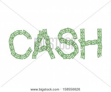 Cash Text Of Money. Typography Dollars Emblem