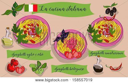 Vetcor Menu Of Italian Dishes. Spaghetti Aglio Con Olio, Spagghetti Bolognese, Amatriciana. La Cucin