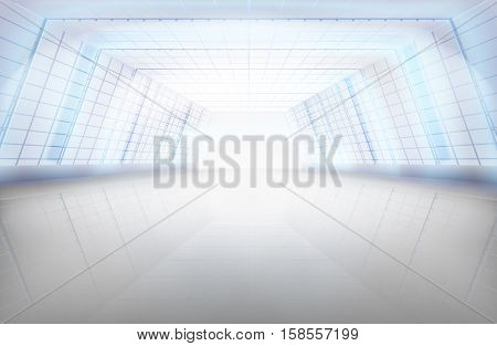 Long hall, large space. Vector illustration.
