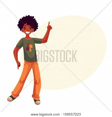 Full length portrait of african amercian teenaged boy in orange jeans dancing, cartoon style vector illustration isolated on yellow background with place for text. Smiling black boy with a wide smile