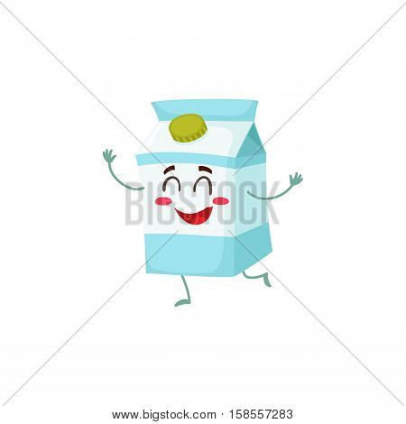 Funny milk box character with a shy smile, cartoon style vector illustration isolated on white background. Cute milk cardboard character with eyes, legs, and a wide smile