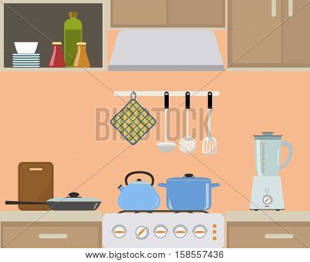 Fragment of an interior of kitchen in orange color. There is a blue kettle and pan on the stove, also blender, a frying pan and other objects in the picture. Vector flat illustration