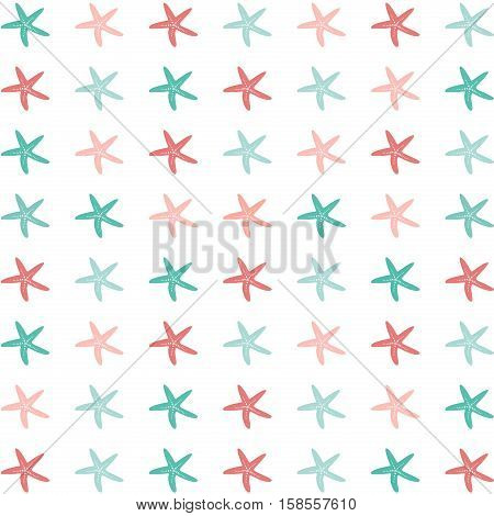 Flat illustration of colorful starfish on a white background